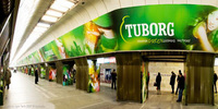 photo of metro station panorama, poster for Tuborg